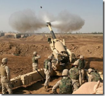 howitzer with shell in flight